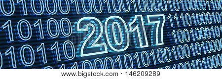 Abstract new year date 2017 binary (done in 3d rendering)