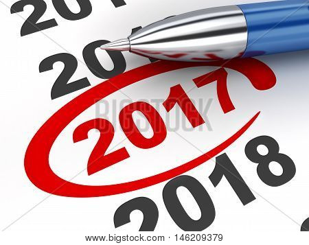 New year sign 2017 and pen (done in 3d rendering white background)