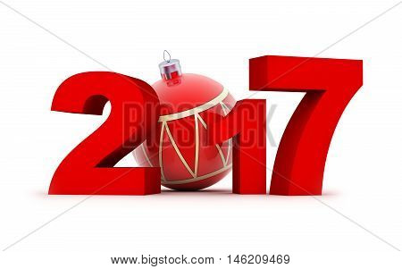 Sign new year 2017 (done in 3d rendering white background)