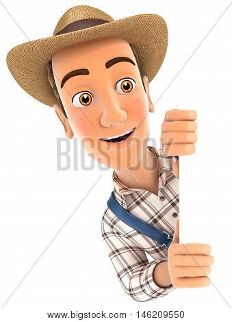 3d farmer peeping over blank wall illustration with isolated white background