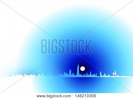Kuwait Soft White And Blue Skyline Horizon