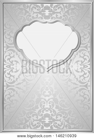 silver background with ornaments and frame - vector illustration