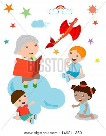 Illustration of Kids Listening to Their Grandmother Tell a Story, open book with dragon, Imagination ,Vector Illustration