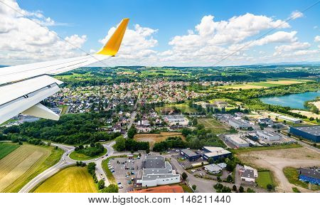Landing at Euroairport Basel-Mulhouse-Freiburg. View of Bartenheim village