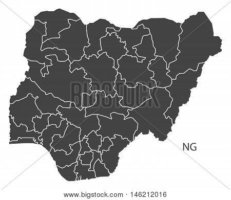 Nigeria grey map with regions isolated vector high res