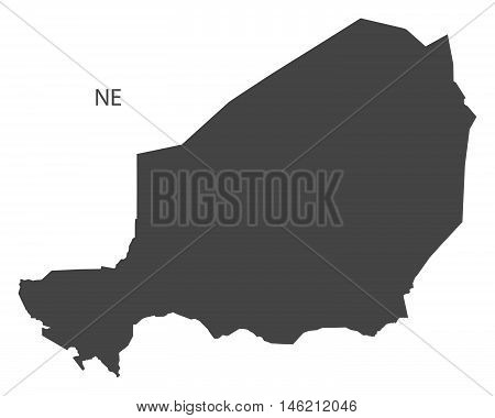 Niger grey map isolated vector high res