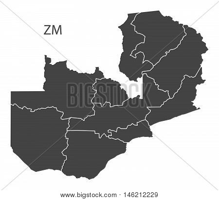 Zambia grey map with regions isolated vector high res