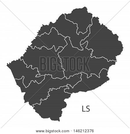 Lesotho grey map with regions isolated vector high res