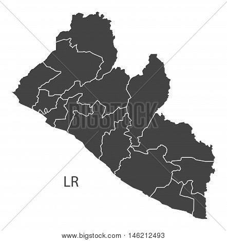 Liberia grey map with regions isolated vector high res