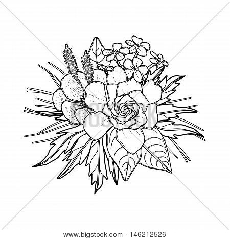 Graphic floral card. Vector leaves and flowers in cute vignette isolated on white background. Wedding style decorations in black and white colors. Coloring book page design for adults and kids