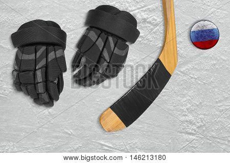 Russian hockey puck and accessories Ice sports arena. Concept