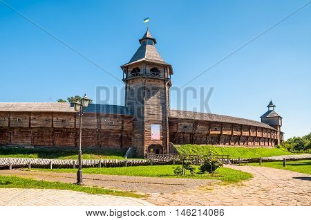 Fortress citadel in Baturyn Ukraine on a sunny summer day. The Baturyn city was the residence of Hetman of Left-Bank Ukraine in 1669-1708 and 1750-1764 respectively.