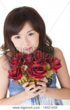 Happy Young Girl Holding Roses