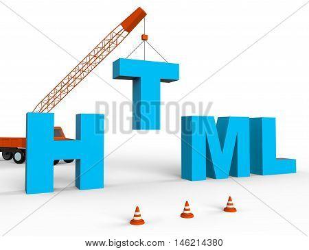 Produce Html Indicates Hypertext Markup Language 3D Rendering