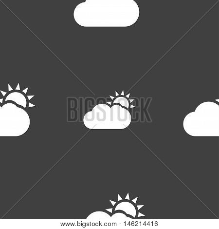 Partly Cloudy Icon Sign. Seamless Pattern On A Gray Background. Vector