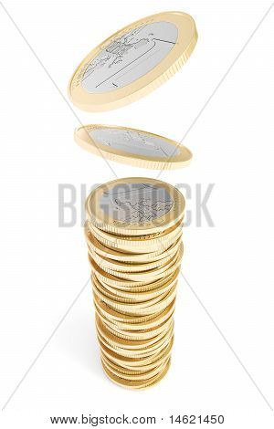 Euro coins falling on a coin pile