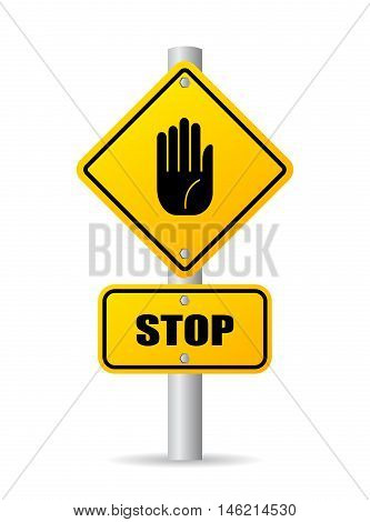 Stop pole road sign vector illustration isolated on white background