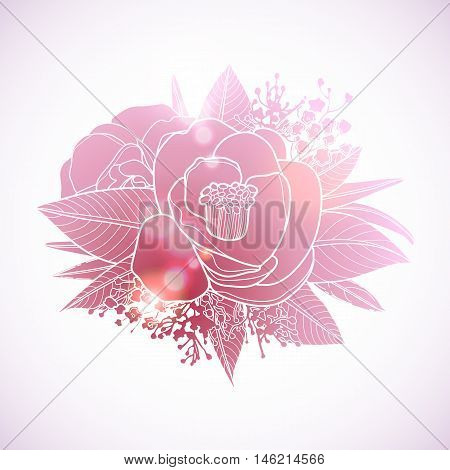 Graphic floral card. Vector camellia isolated leaves and flowers in cute vignette. Wedding style decorations in pink colors