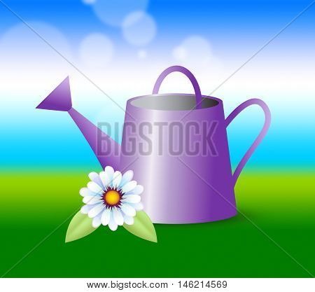 Watering Can Indicates Agriculture Horticulture And Sowing