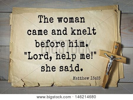 Bible verses from Matthew.The woman came and knelt before him.