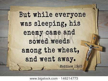 Bible verses from Matthew.But while everyone was sleeping, his enemy came and sowed weeds among the wheat, and went away.