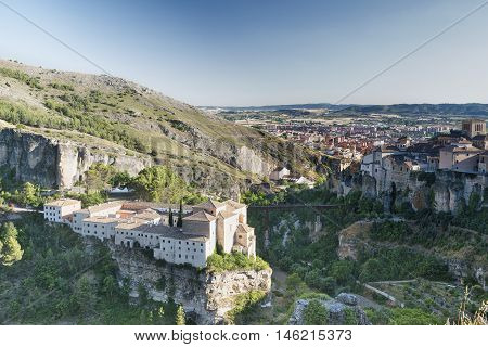 Cuenca (Castilla-La Mancha Spain) the famous casas colgadas Unesco World Heritage SIte and the San Pablo convent