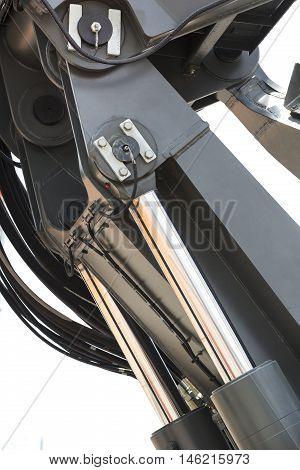 chrome-plated hydraulic mechanism close - up shot