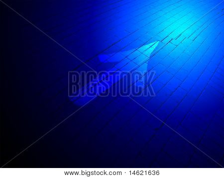 Abstract Blue Lighting, Painted White Direction Sign Over Brick Road