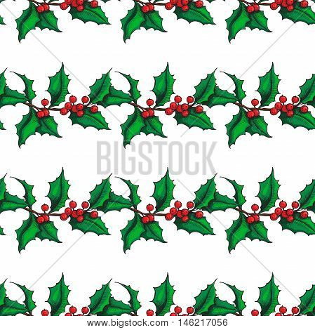 Mistletoe Christmas vector seamless pattern. Hand drawn botanical holly branch wrapping paper. Great winter holiday background for cards greetings gift packaging xmas decor