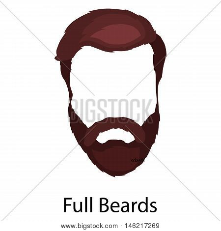 Men cartoon hairstyles with beards and mustache.Vector illustration with isolated hipsters hairstyles on a white background.