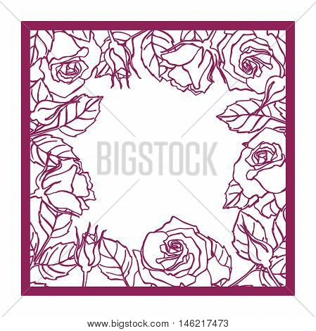 Laser cut vector rose square frame Cutout pattern silhouette with flower and leaves Die cut paper element for wedding invitations save the date greeting card. Square botanical cutting template panel