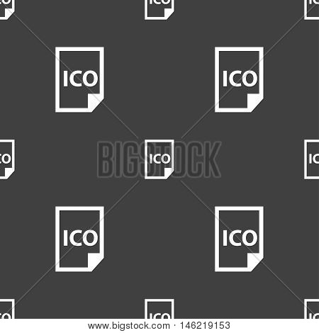 File Ico Icon Sign. Seamless Pattern On A Gray Background. Vector