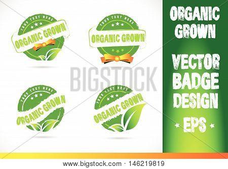 Organic grown Badge Vector Logobadge label seal stamp logo text design green leaf template vector eps