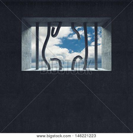 3d image broken jail bar and sky