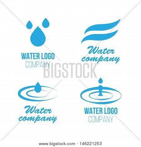 Aqua, water splashes and drops logo set