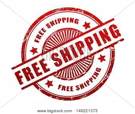 free shipping stamp illustration isolated on white background