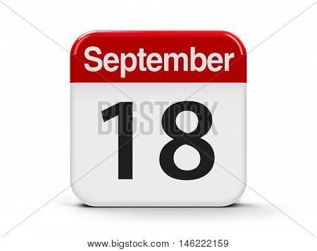Calendar web button - The Eighteenth of September three-dimensional rendering 3D illustration