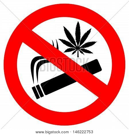 No marijuana smoking sign vector illustration isolated on white background