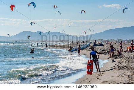 Ulcinj,Montenegro- July 18, 2016: Kitesurfers on the beach in Ulcinj Montenegro
