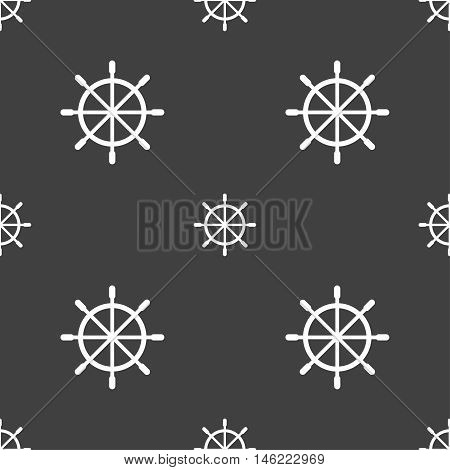 Ship Steering Wheel Icon Sign. Seamless Pattern On A Gray Background. Vector