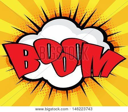 Boom Pop Art Comic Book Speech Bubble Background Vector Illustration