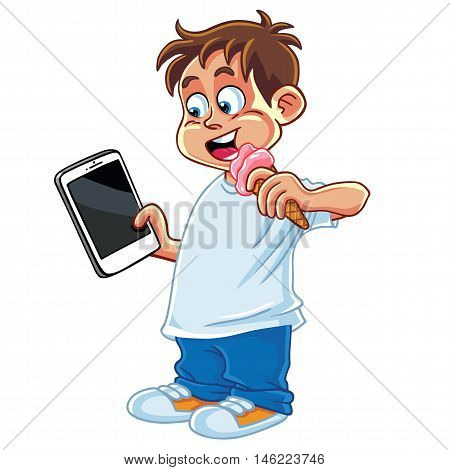 Kid Playing Tablet Phone Gadget Cartoon Vector