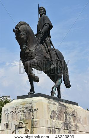 BATALHA, PORTUGAL - AUG : Equestrian statue of Dom Nuno Alvares Pereira at the Monastery of Batalha in Portugal, as seen on Aug 24, 2016. He was a Portuguese 14th century General of great success.
