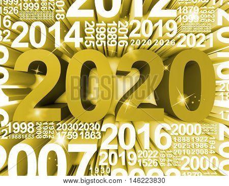 Two Thousand Twenty Shows 2020 Celebrations 3D Rendering