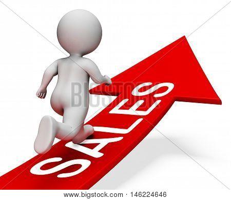 Sales Arrow Means Retail Trade 3D Rendering