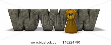 letters www and bear pawn - 3d rendering