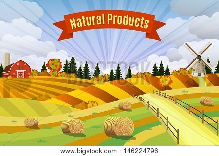 Countryside landscape with haystacks on fields. Rural area landscape. Hay bales. Farm flat landscape. Organic food concept for any design, vector