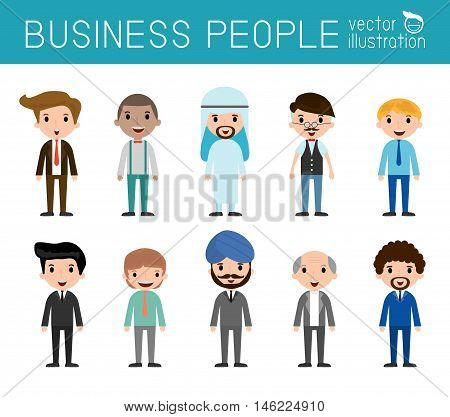 Set of diverse businessman people isolated on white background. Set of full body diverse business people.Different nationalities and dress styles.people character cartoon concept.flat modern design