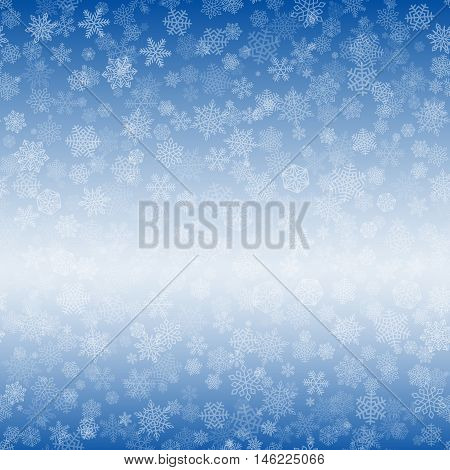 Vector Snowflakes Background Pattern. White falling snow on blue gradient. Christmas ornament for sales banner, New Year card. Bleached copy space for text. Winter sky backdrop.