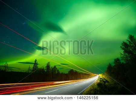 Northern lights and traffic lights